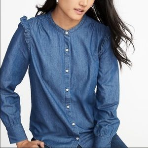 OLD NAVY Ruffle Shoulder Chambray Button down XS